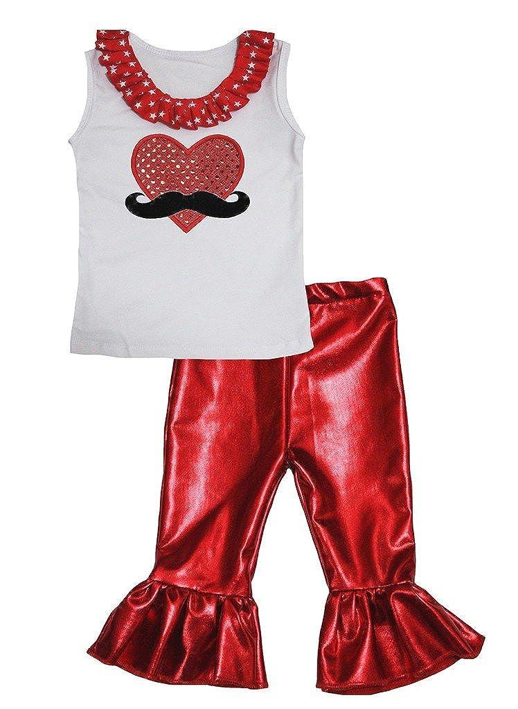 Petitebella Sequins Beard Heart White Cotton Shirt Red Shiny Pant Set Girl 1-8y