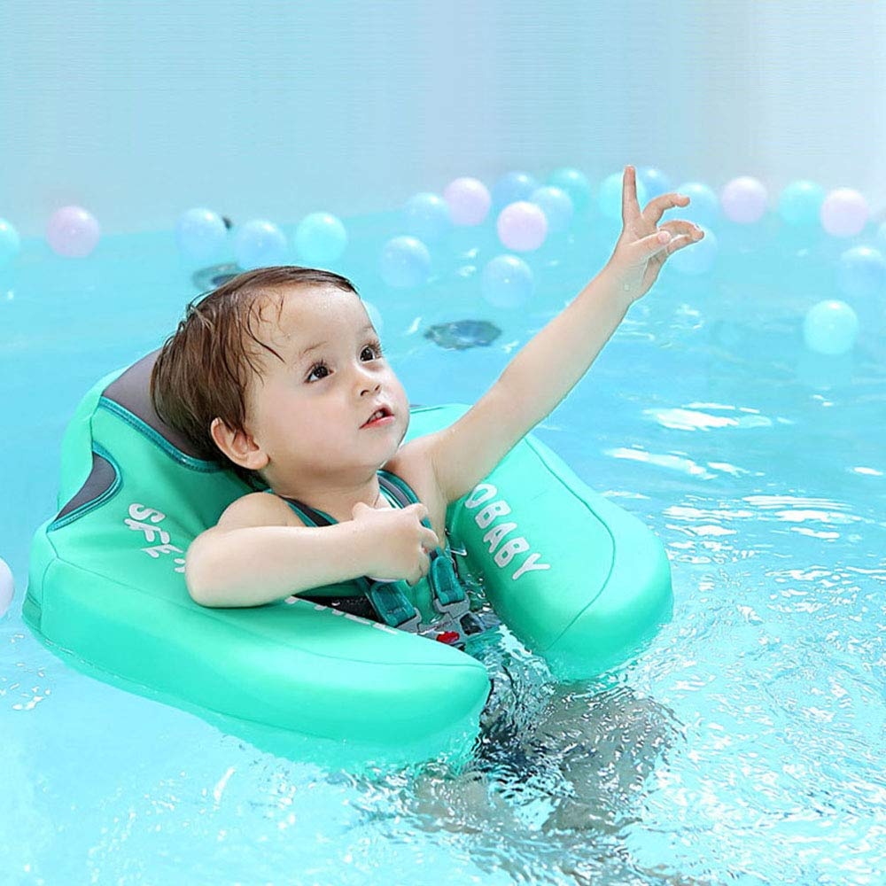 V Convey Upgraded Baby Infant Soft Solid Non-Inflatable Mambobaby Float Lying Swimming Ring Children Waist Float Ring Floats Pool Toys Swimming Pool Swim Trainer Classic Swim Ring (Green Cloth) by V Convey (Image #9)
