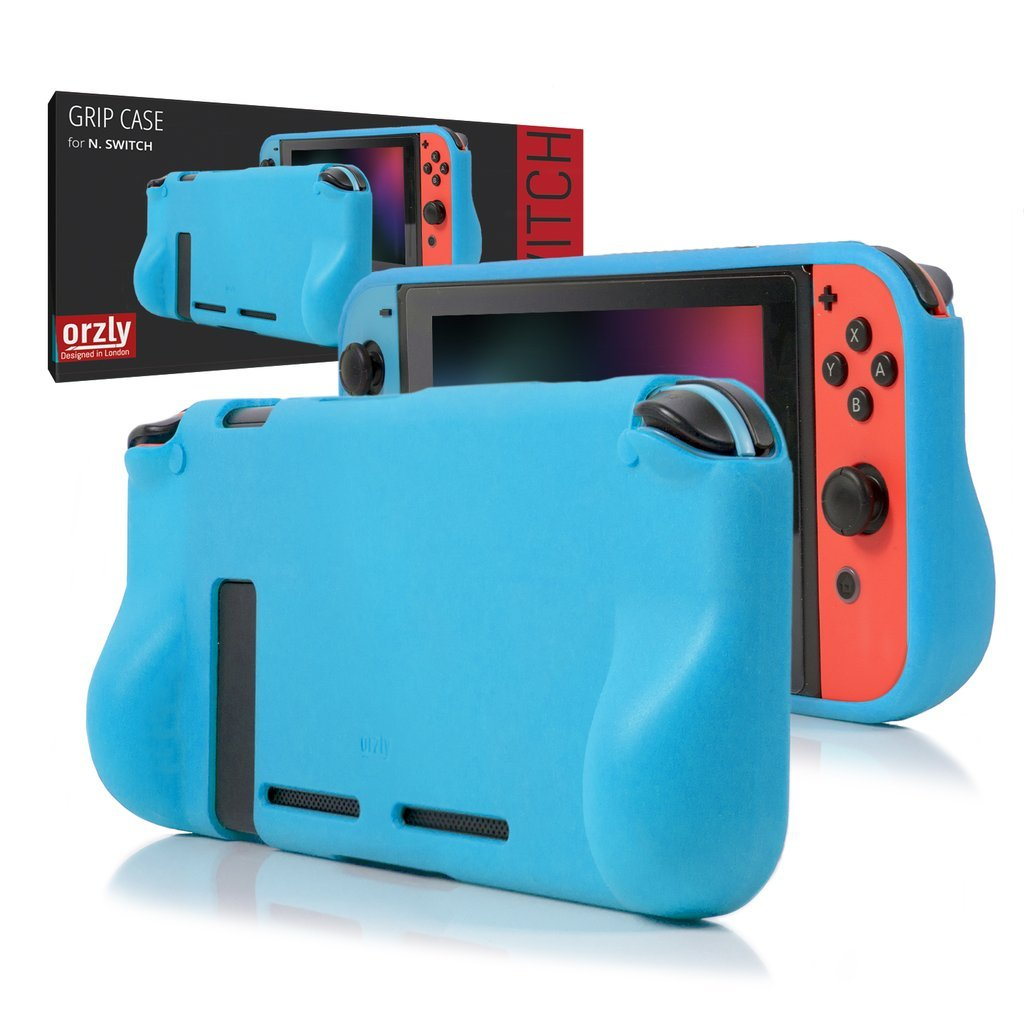 ORZLY® Comfort Grip Case for Nintendo Switch - Protective Back Cover for use on the Nintendo Switch Console in Handheld GamePad Mode with built in Comfort Padded Hand Grips - BLUE product image