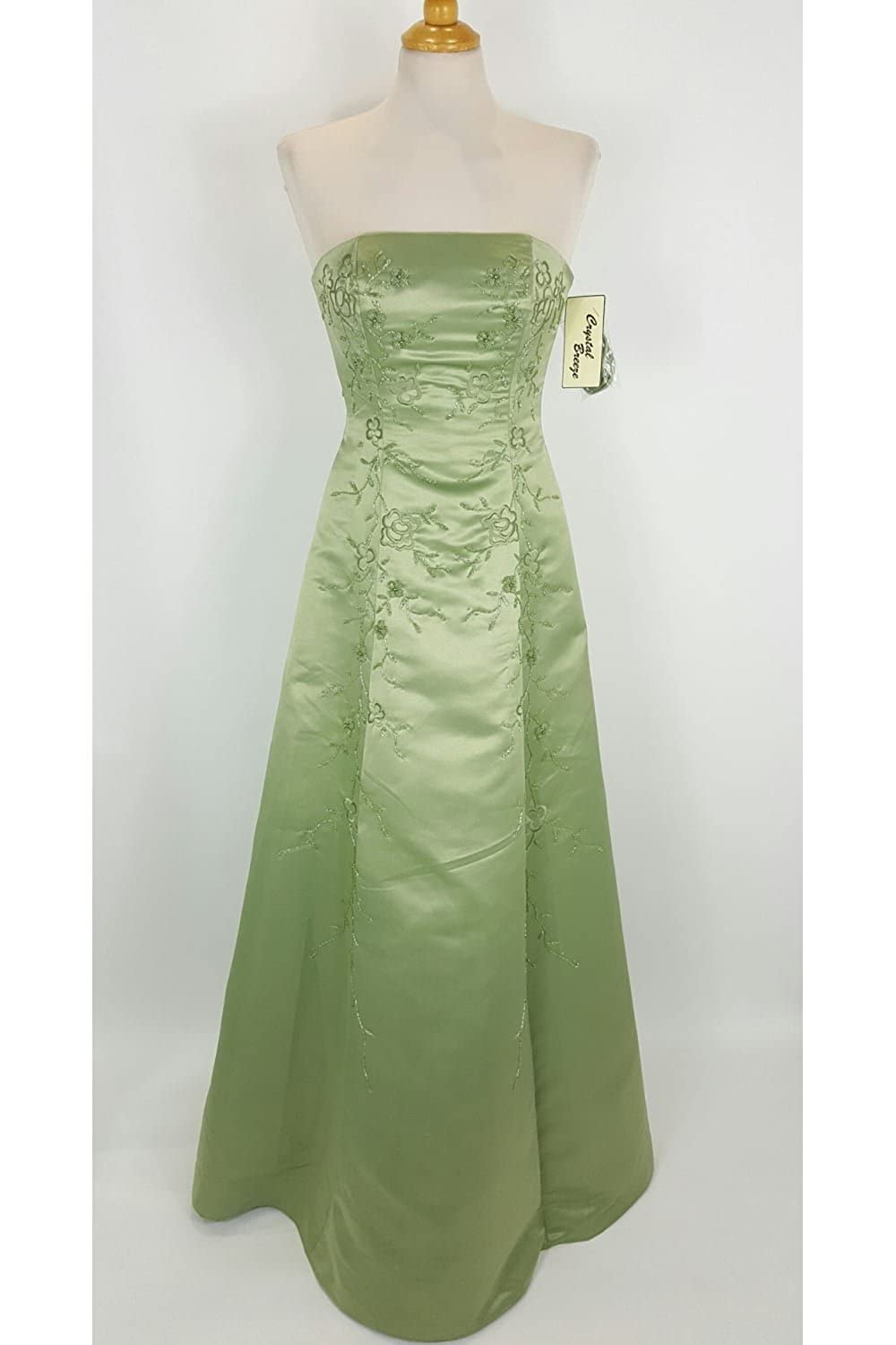 Crystal Breeze Nicole Sage Green Strapless Bead Detailed Gown