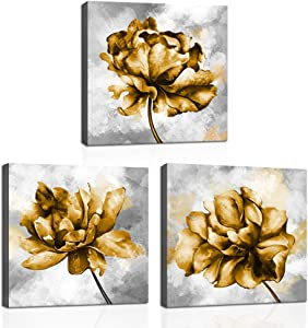KLVOS Gold Flower Pictures Wall Art Print on Canvas 3 Piece Yellow Flower Pictures Elegant Floral Art Wall Decor for Home Bedroom Gallery Wrap Easy to Hang 12
