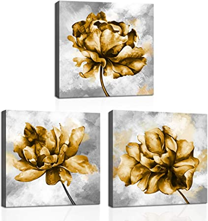 Klvos Gold Flower Pictures Wall Art Print On Canvas 3 Piece Yellow Flower Pictures Elegant Floral Art Wall Decor For Home Bedroom Gallery Wrap Easy To Hang 12 X12 X3pcs Posters Prints
