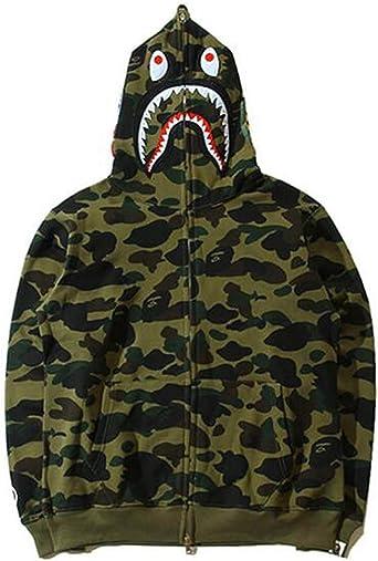 New Bathing Ape Bape Shark Jaw Camo Full Zipper Hoodie Men/'s Sweats Coat Jacket
