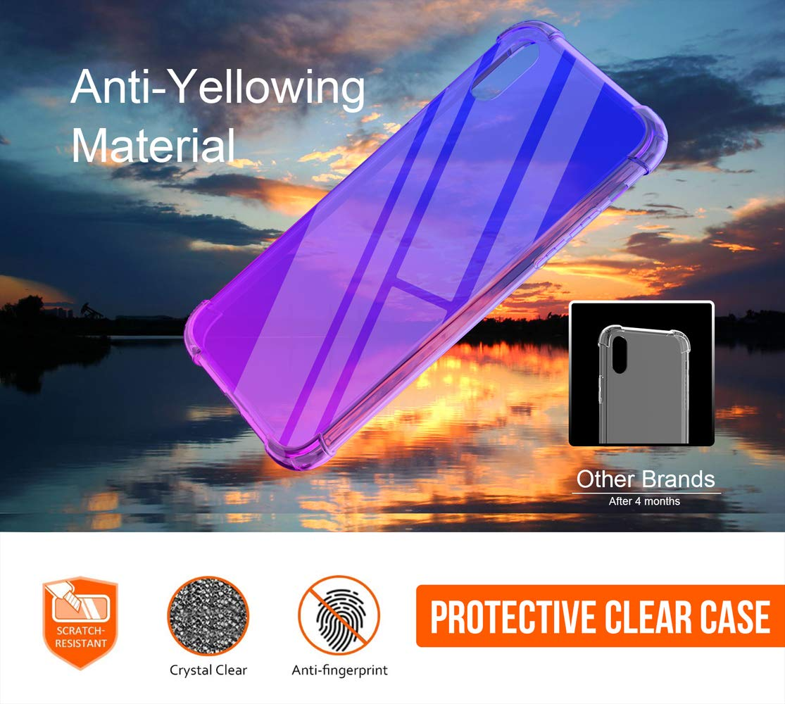 iPhone Xs Max Case, Slim Crystal Clear Soft TPU Flexible Cover Case Compatible 6.5 inch Xs Max 2018 Release - Blue Purple