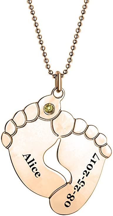 Children Charms Personalized Birth Stones Jewelry Mom Necklace with Kids Initials and Birthstones in Rose Gold Unique Gifts for Moms
