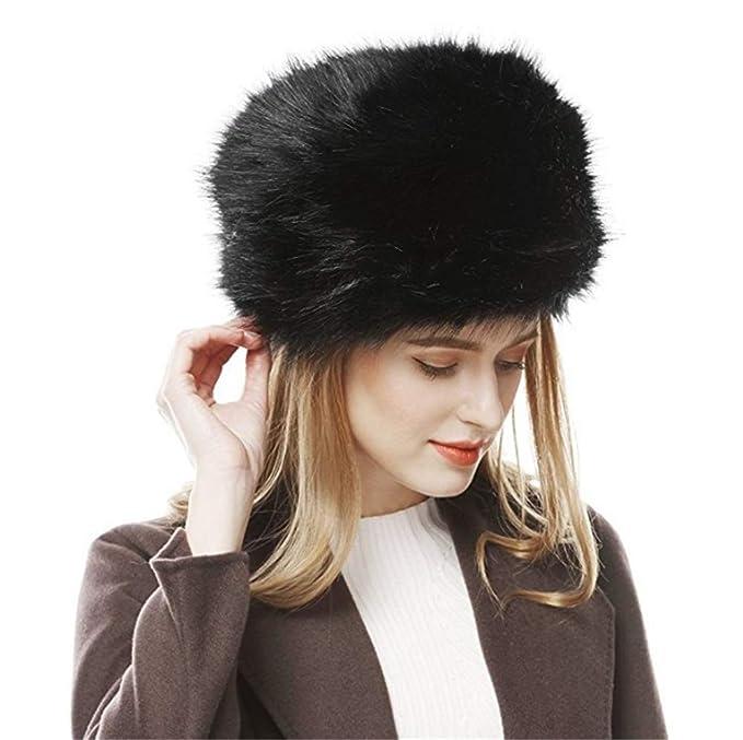 e8fda6f73 Womens Faux Fur hat Russian Cossack Warm Cap with Fluffy Pompom Ball ...