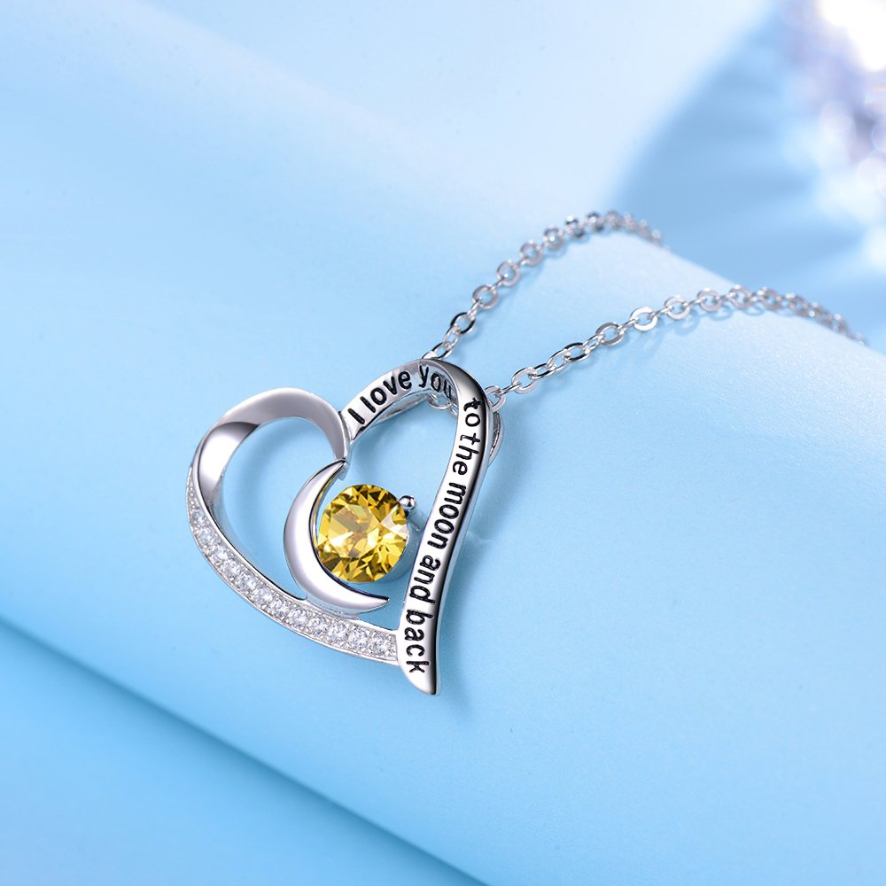 Elda&Co I Love You to The Moon and Back Heart Pendant November Birthstone Yellow Citrine Swarovski Necklace Sterling Silver Fine Jewelry Birthday Gift for Women for Her by Elda&Co (Image #4)