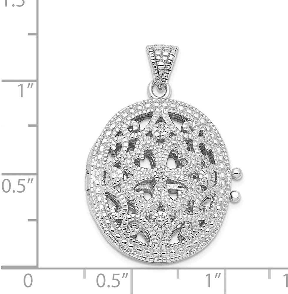 FB Jewels Solid 925 Sterling Silver Cubic Zirconia CZ Locket