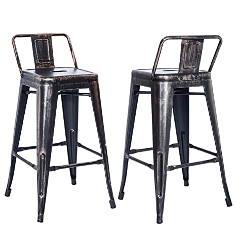 Marvelous Merax Pp038358 Bar Stools Low Back High Feet Indoor And Outdoor 26 Inch Height Metal Chairs Set Of 2 Golden Black Evergreenethics Interior Chair Design Evergreenethicsorg