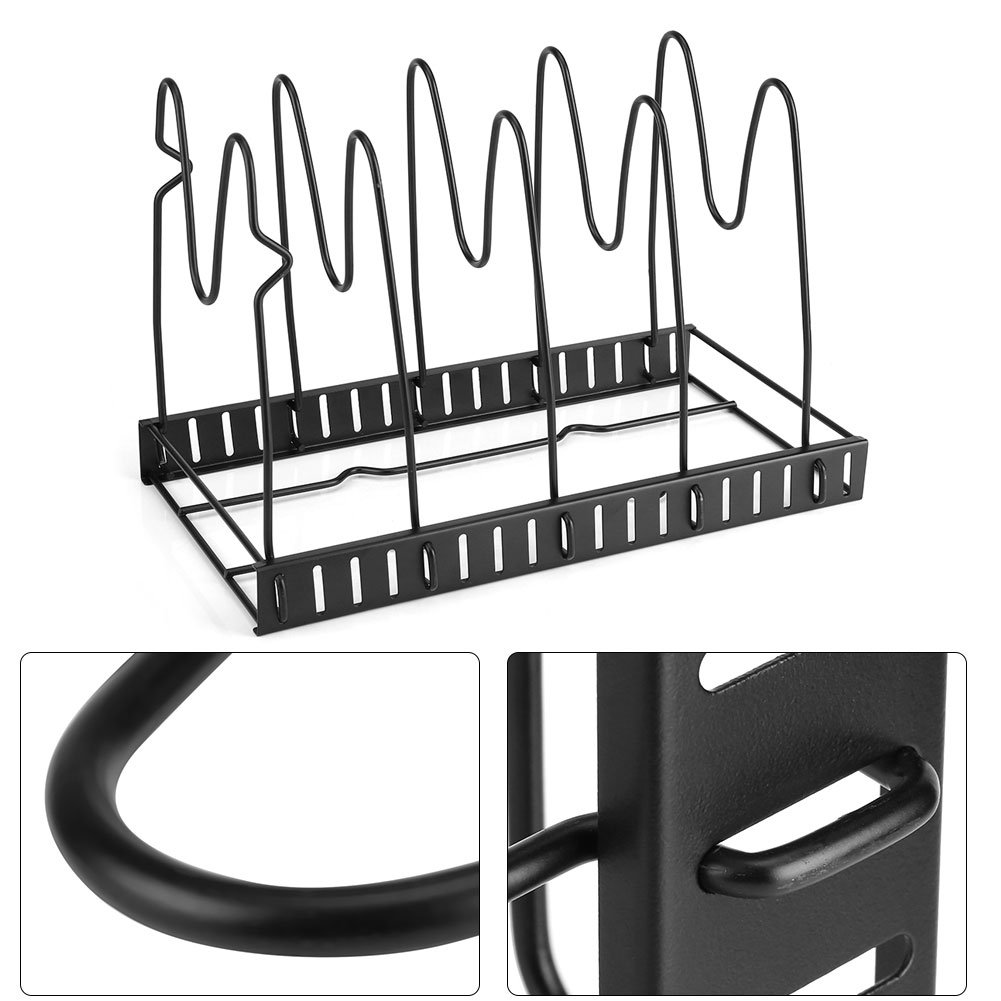 Versatile Tier Padella Organizer Rack 5 Pans Holder Rack Pot Coperchio Organizer Stand di stoccaggio Pentole Pentole