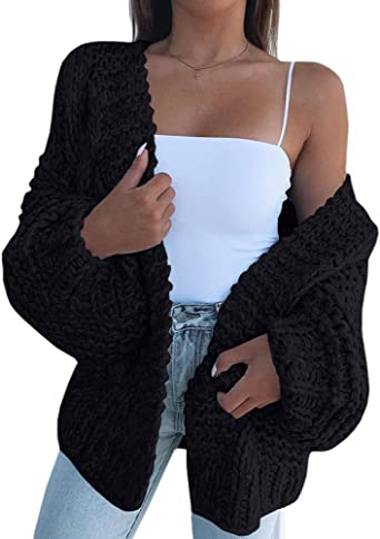 Womens Loose Open Front Hoodie Long Sleeve Solid Color Knit Cardigans Sweater