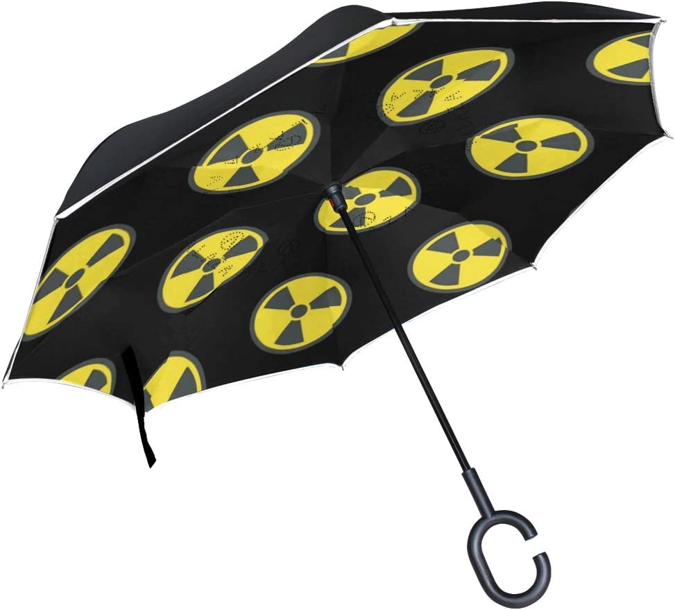 Inverted Umbrella with Cool Radioactive Sign Print Car Reverse Folding Umbrella Windproof UV Protection with C-Shaped Handle