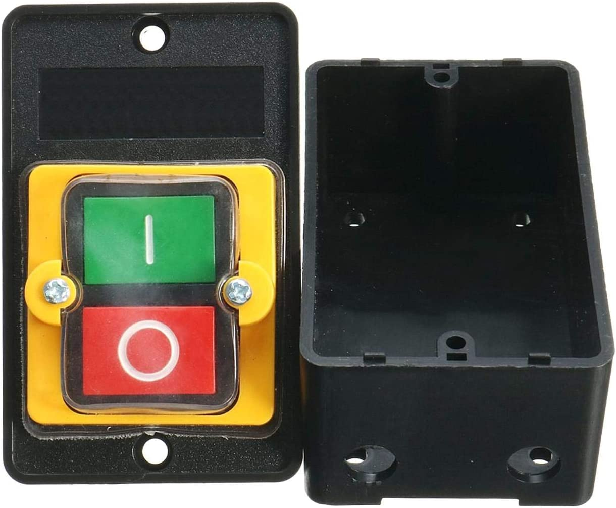380V Bot/ón de Encendido//Apagado a Prueba de Agua Bot/ón de Interruptor KAO-5 Negro Taladro Motor M/áquina Uso Impermeable Push AC 220
