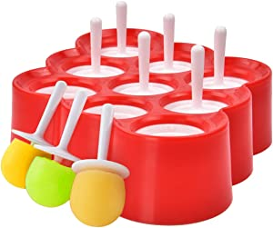 Baby Silicone Popsicle Molds, 9 Cavities Ice Pop Molds, BPA Free Popsicle Molds for Kids, Reusable Ice Cream Molds, Easy Release Popsicle Maker with Drip Guard Sticks (Red)