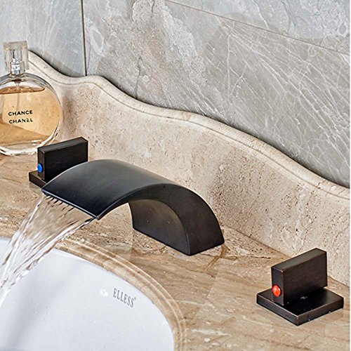 Waterfall Bathroom Basin Faucet (Zovajonia Oil Rubbed Bronze Waterfall Bathroom Basin Sink Faucets Deck Mounted Widespread 3 Holes Mixer Taps)