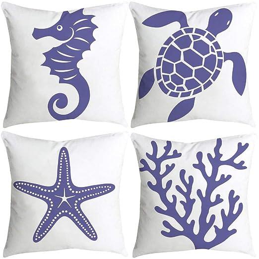 4 Pack Throw Pillow Case Fundas de Almohada Decorativas de Porcelana Azul y Blanca para sofás y Camas de Salones y Habitaciones 45 x 45 cm SomeoLiky
