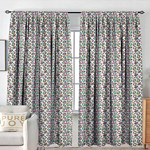 (Blackout Curtains for Bedroom Diamonds,Crystal Pattern with Rainbow Color Palette Oval Triangular Hexagonal Geometric, Multicolor,Darkening and Thermal Insulating Draperies 72