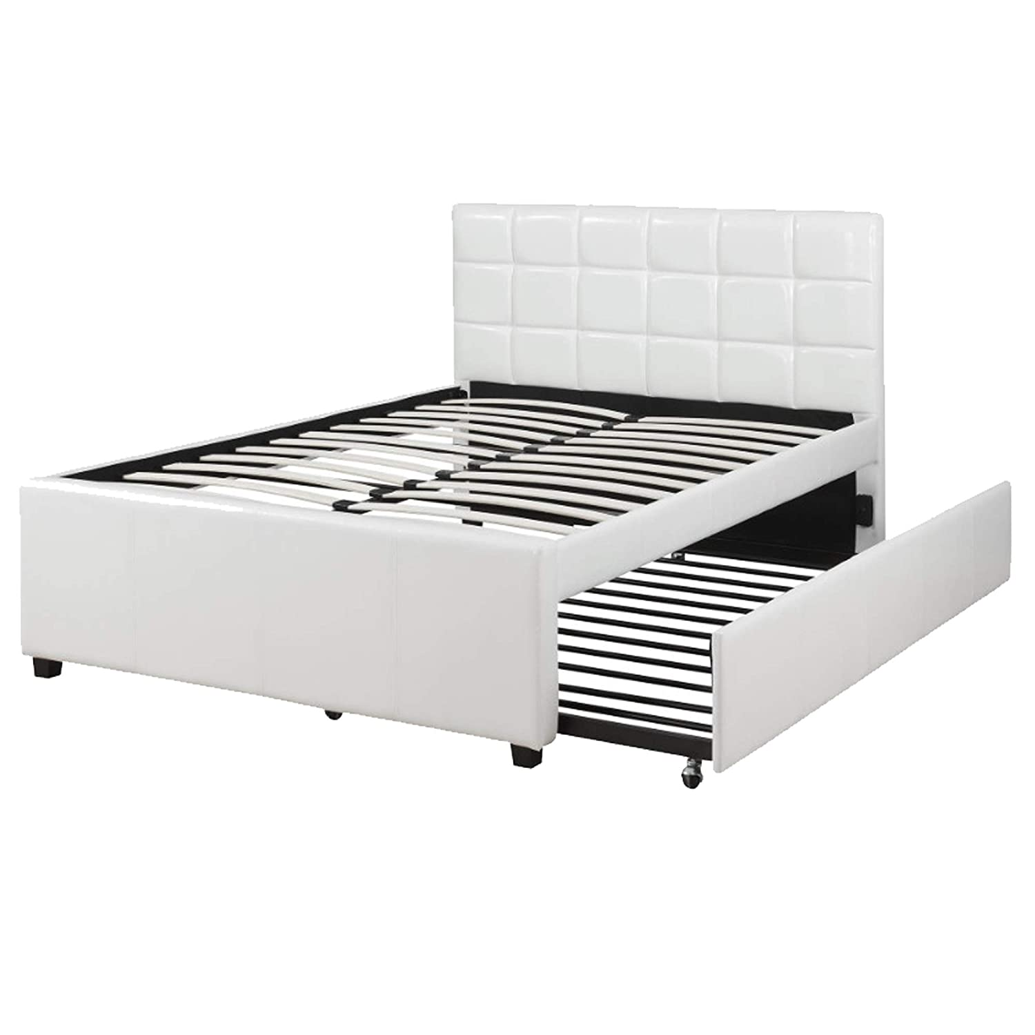 Benjara Gracious Wooden Full Bed With Trundle And SQU Tufted HB, White