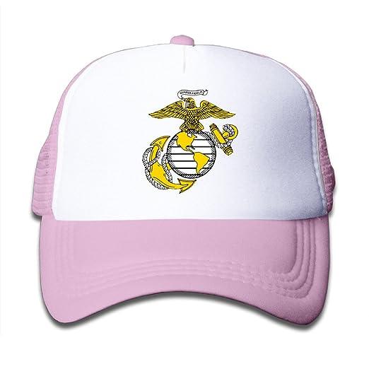 Amazon com: Kualday Kids USMC Marine Corps Logo Trucker Hat Cap Pink