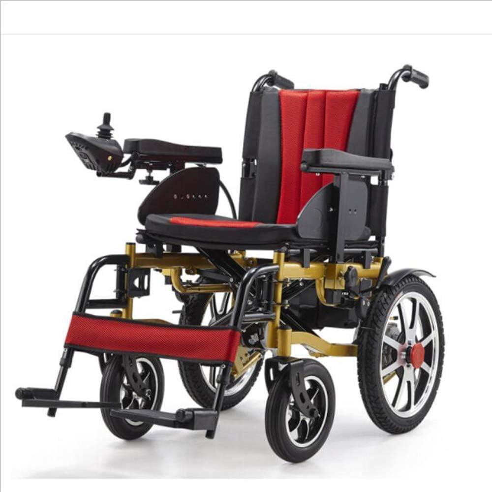 DLY Ancianos Discapacitados Silla de Ruedas Eléctrica Autopropulsada Plegable Médica Ligera Automática con Pedal Batería de Litio Multifunción