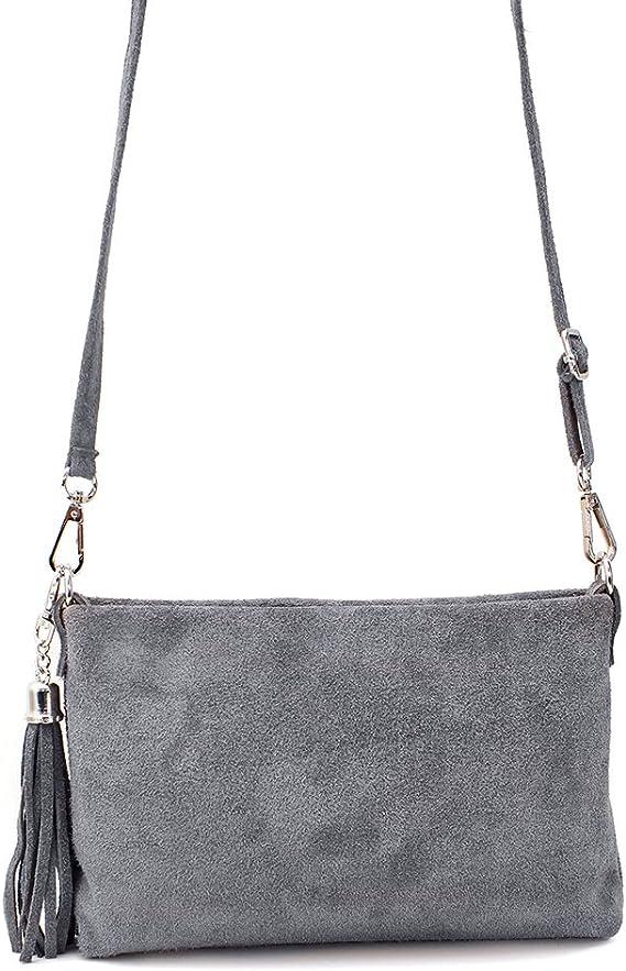 Ledertasche braun schwarz blau grau klein Lederhandtasche Umhängetasche Fransen Leder Tasche Wildleder Handtasche Damen (grau)