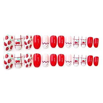 Milue 24pcs Set Artificial Short False Nail Fake Strawberry Nails
