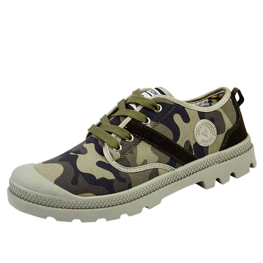 Students Non-Slip Hiking Shoe Mens Classic Lace-Up Low-Top Canvas Shoes Flats Green