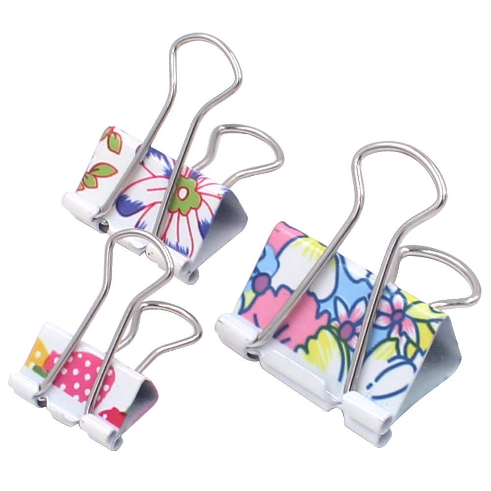 Zicome 50 Pack Colorful Printed Binder Clips, Assorted Sizes (Floral)