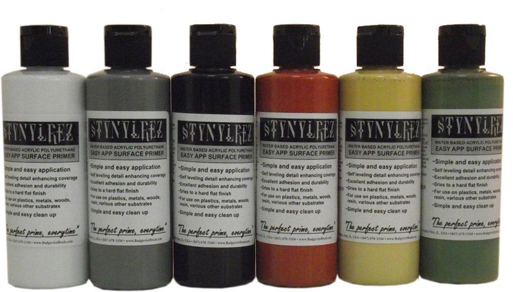 Badger Stynylrez SNR-416 Airbrush Primer 6 Tone Pack 4Oz. / 120Ml White, Gray, Black, Red Brown, Olive Green, Neutral by Badger