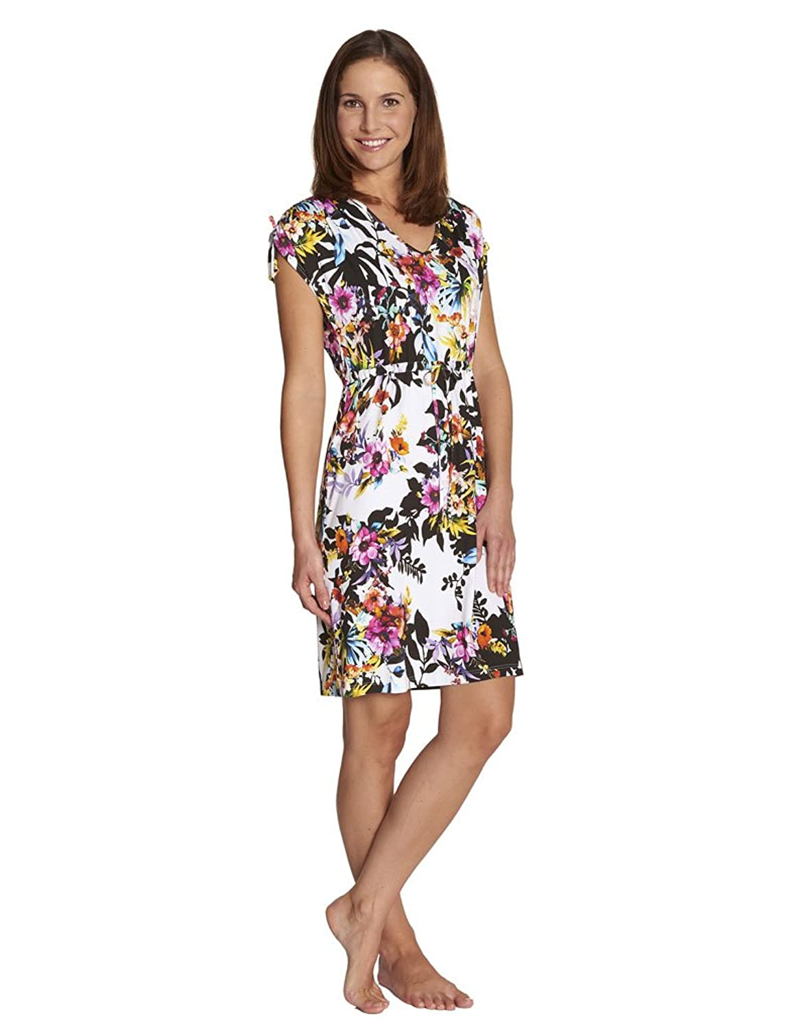 Rosch 1175561-10259 Women's Bright Blue and Pink Floral Beach Dress Cover Up
