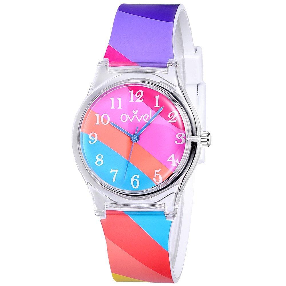Ovvel Girls Watch – Pretty and Cute Kids Wristwatch with Teaching Analog Display Time Teacher - Japanese Quartz Movement – Bright Stripe