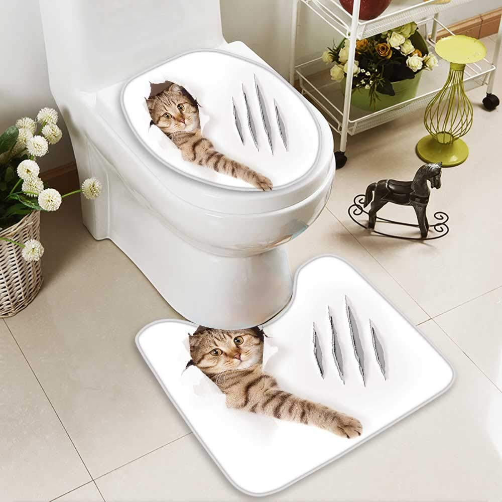 HuaWuhome 2 Piece Toilet mat Set House Animal Funny Cat in Paper Hole with Claw Scratches Playful KittenCute Pet Brown White 2 Piece Shower Mat Set