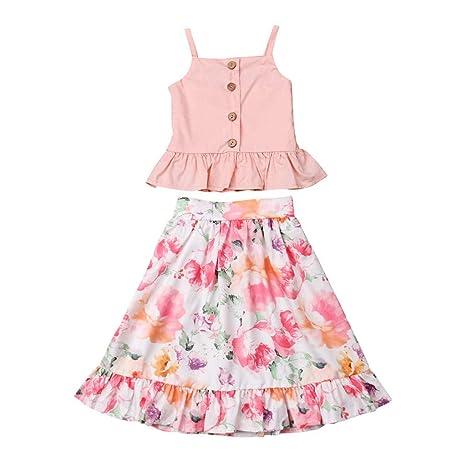2pcs Kids Baby Girls Little Beauty T shirt+Skirt Dress Party Clothes Set Outfits