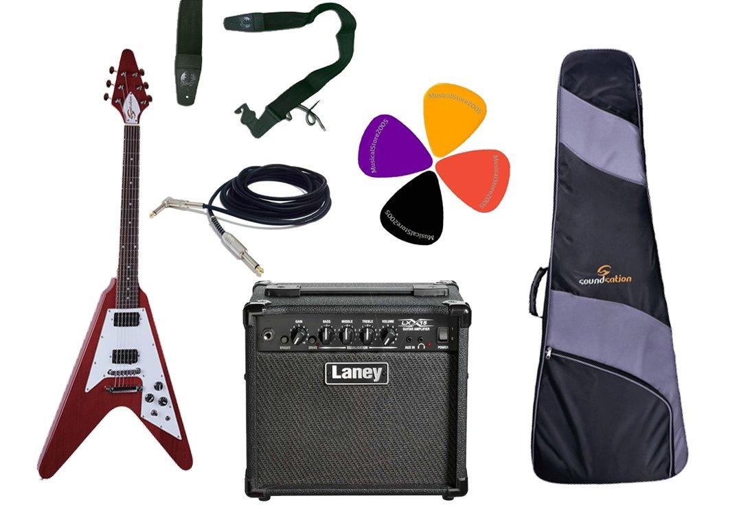 Guitarra eléctrica Flying V Style/Laney Combo 15 W y accesorios: Amazon.es: Instrumentos musicales