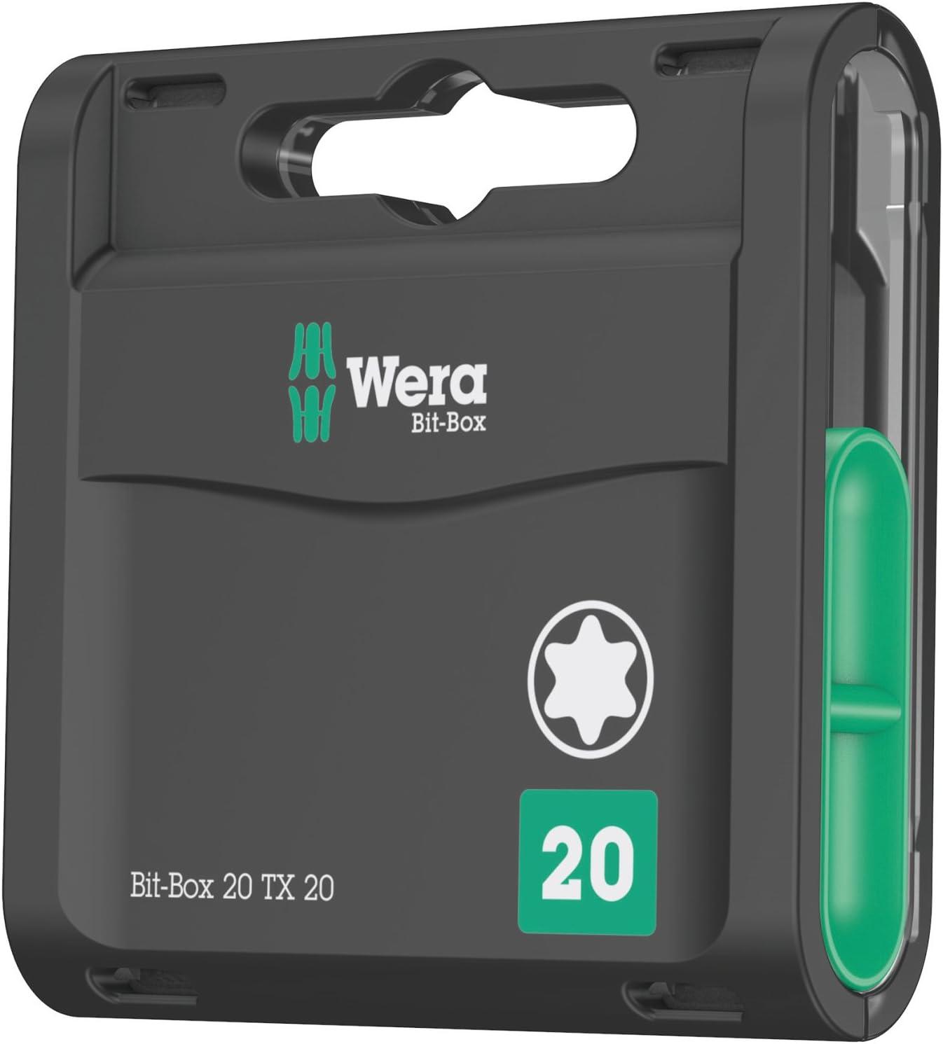 Noir Wera 05057770001 Bit-Box 20 TX 20 Bo/îte d/'embouts Set de 20 Pi/èces