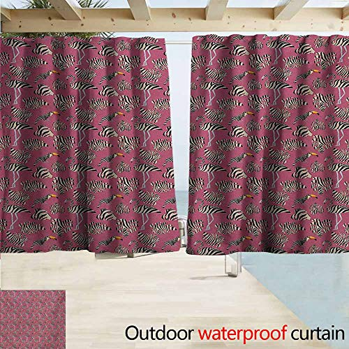 (AndyTours Indoor/Outdoor Print Window Curtain,Pink Zebra Flamingos Toucans Large Tropical Leaves in Zebra Stripes Trippy Illustration,Simple Stylish Waterproof,W72x72L Inches,Pink Tan Black)