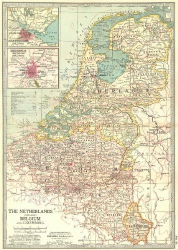 Amazoncom NETHERLANDS BELGIUM LUX Amsterdam Brussels Shows - Amsterdam old map
