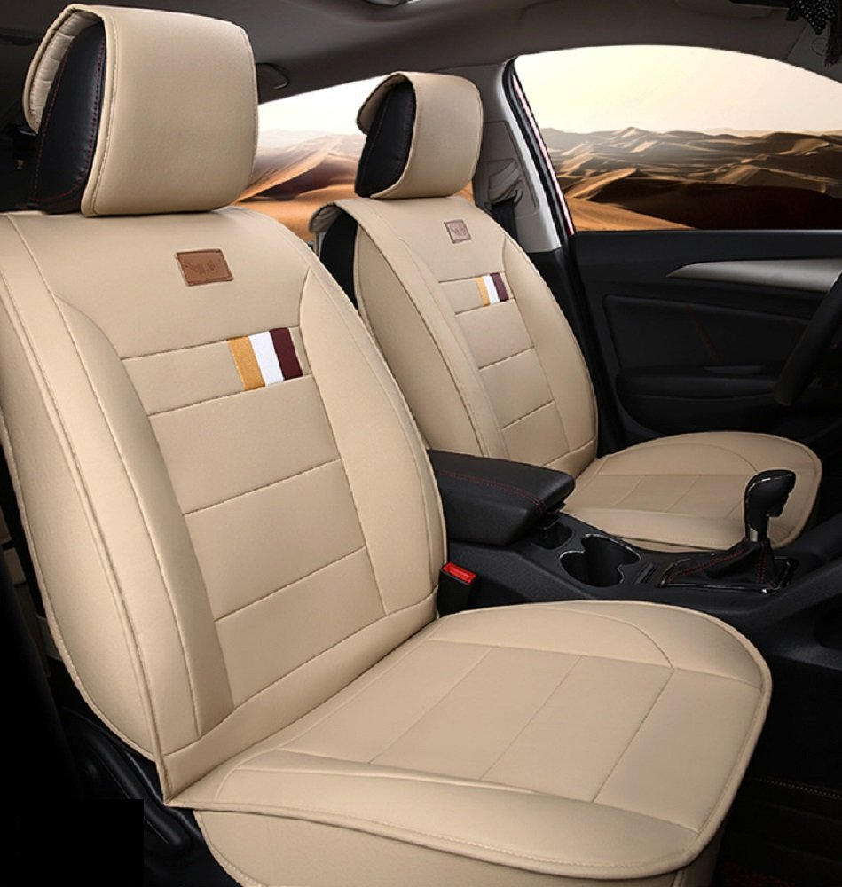 A&S 19005 Compatible Universal Full Front Rear PU Fabric Car Seat Cushion Cover Fit Protection (Warm Ivory White)