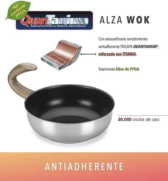 Wok ALZA. Wok Fabricado en Acero Inoxidable 18/10, Apta para Todo Tipo de Cocina, INDUCCIÓN. Fácil Limpieza. Apto para lavavajillas. Diseño novedoso mango G Zero (ACERO): Amazon.es: Hogar