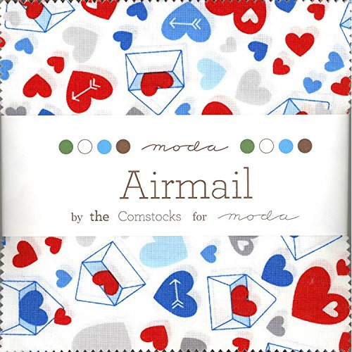 Designer Square Charms (The Comstocks Airmail Charm Pack 42 Squares 5