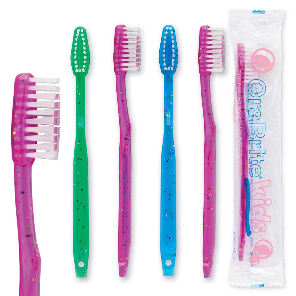 OraBrite Pre-Teen Pre-pasted Disposable Sparkle Toothbrush - 144 per pack by SmileMakers (Image #1)