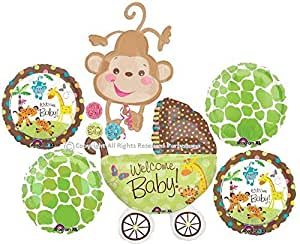 Fisher price safari animal monkey baby shower balloons bouquet decorations supplies - Monkey balloons for baby shower ...