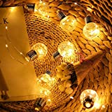 Tuscom 8 Function 10 LED Solar Powered Copper Bulb Lights String| Party/Christmas Tree Dorm/Room Decorations (2 Colors) (Yellow)