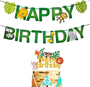 Jungle Safari Animal Party Decoration, Jungle Animals Party Banner, Jungle Wild Safari Zoo Woodland Garland Forest Theme Baby Shower Birthday Party Supplies Decorations