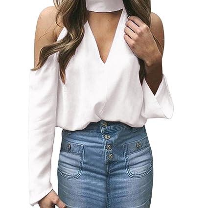 Camisas Mujer, BBestseller Moda Manga Larga Boton De La Gasa Cuello En V Blusa de
