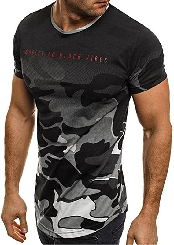 Koly Camisa de hombre manga corta Camisas de vestir Slim Fitness Tops camisetas Blusa de Camouflage camisa de polo de corte Camiseta Térmica de Compresión Pollover Shirt Top Blouse (Gris, M): Amazon.es: