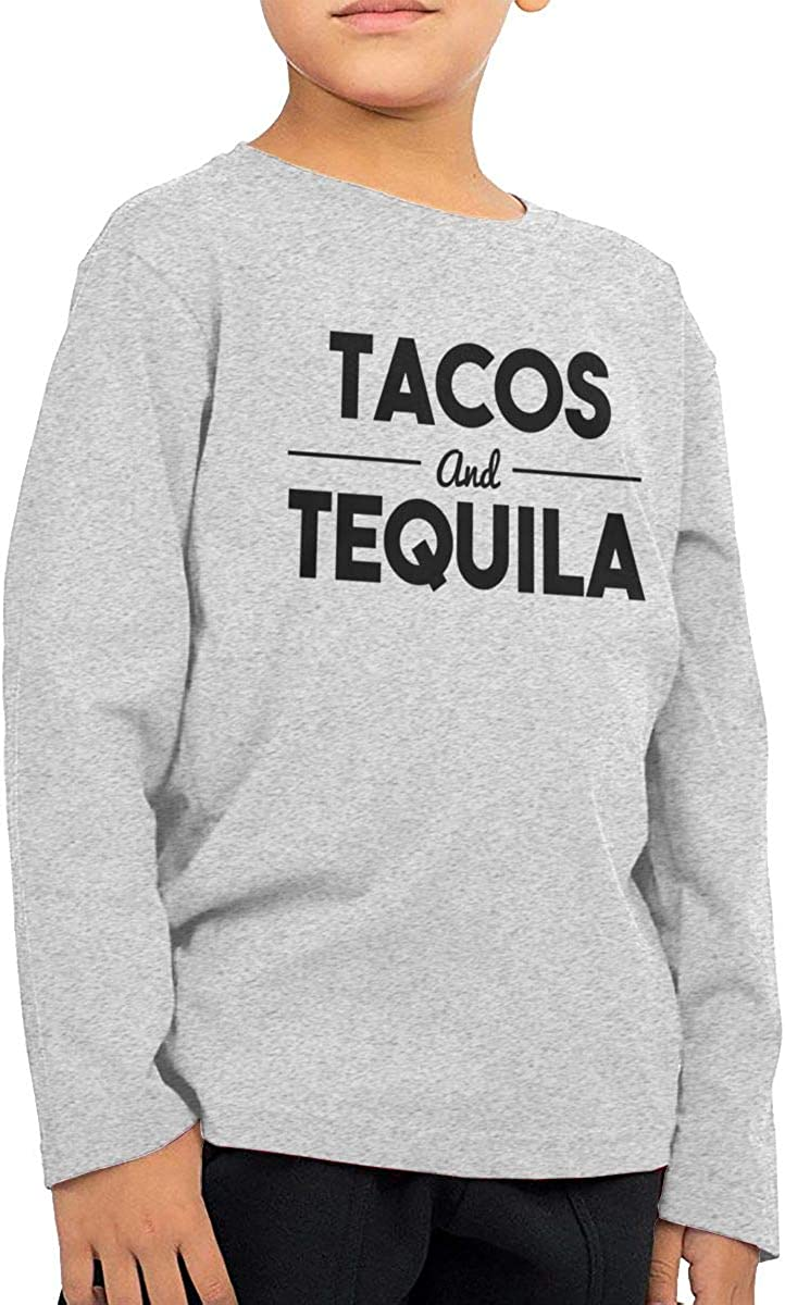 Iponvx Tacos /& Tequila Childrens Long Sleeve Crew Neck Cotton T-Shirts Top Tees for 2-6T Baby