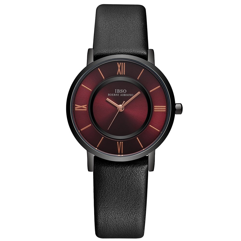 IBSO Women Ultra-thin Quartz Analog Roman Numeral Watch Waterproof Unique Fashion Design Wristwatch (Red Black)