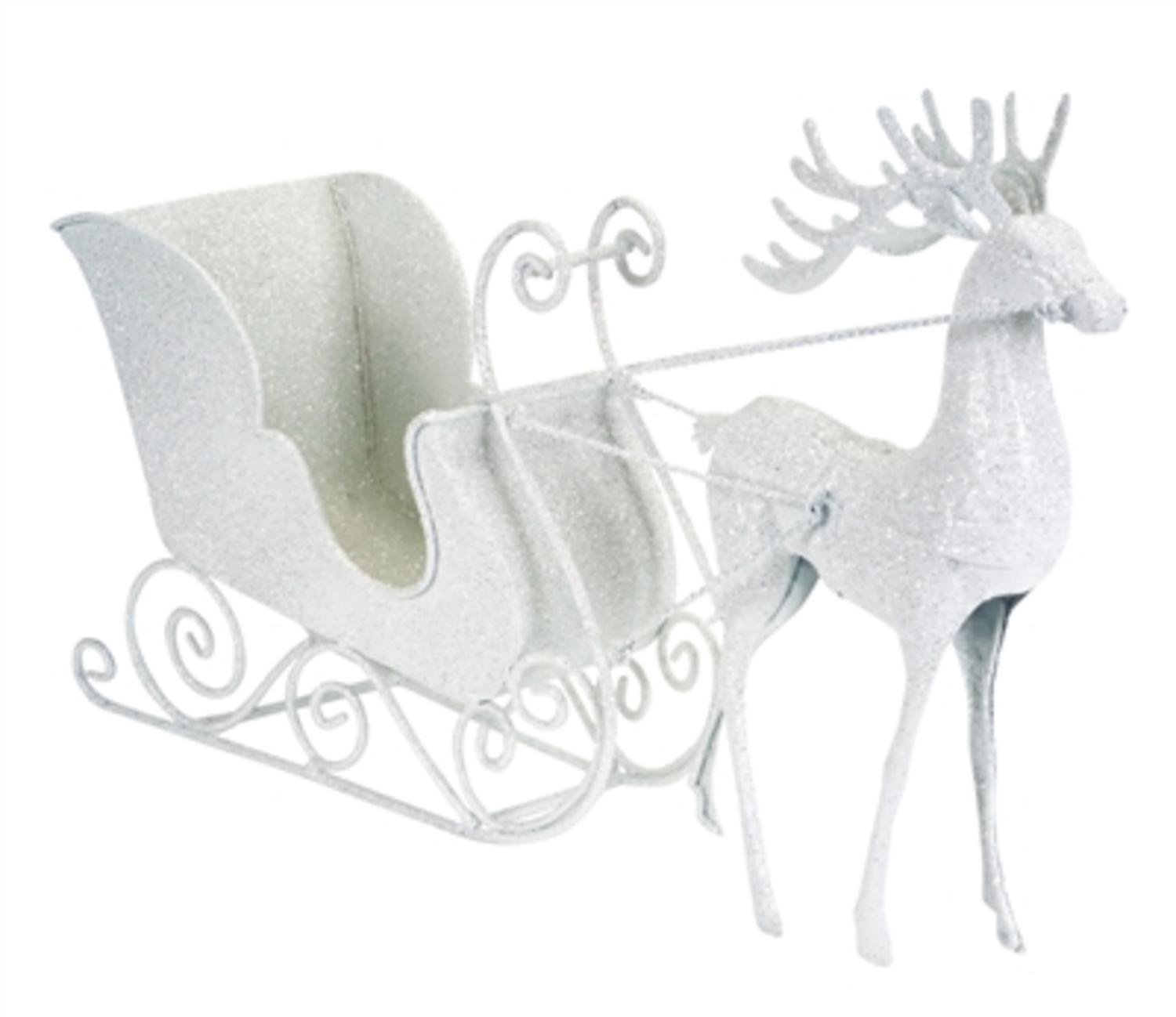 Christmas Glitter White Reindeer and Sleigh Table Decor  Set of 2