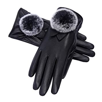 59734b77d4a Yiwa Women Winter Soft Mittens Fashion Warm PU Leather Faux Fur Pom Pom Ball  Touch Screen